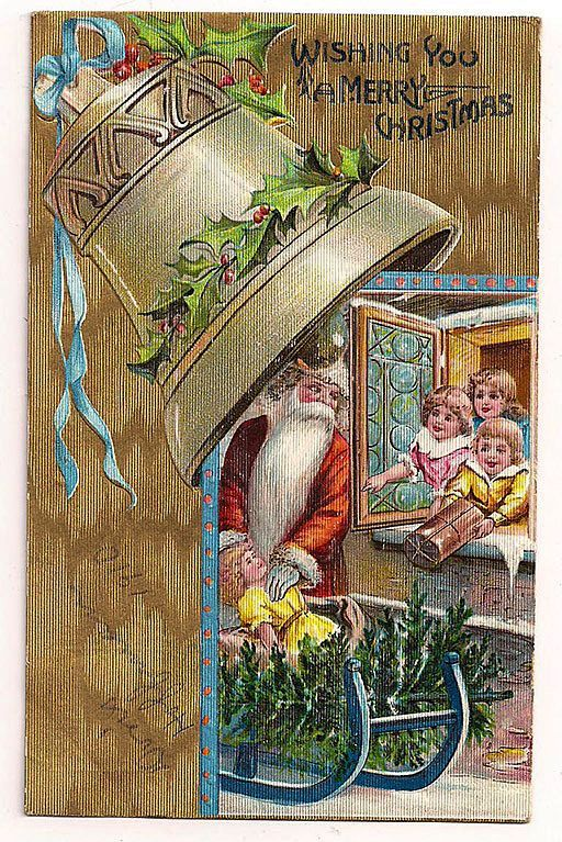 Santa with Kids Tree Presents Large Bell Postcard 1910