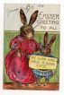 'An Easter Greeting to All' Mother and Child Rabbits Postcard