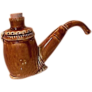 Stoneware Figural Bottle Made in Germany Pipe
