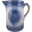 Blue & White Stoneware 'Grazing Cows' Pitcher