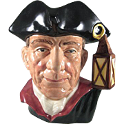 "Williamsburg 'The Night Watchman' Royal Doulton Character Jug 6-3/4"" tall"