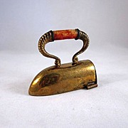 Early Made in Germany Figural Sad Iron Plated Brass Tape Measure