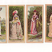 4 Trade Cards Lovely Ladies A.D. Lewis Cash Store Jordan N.Y.