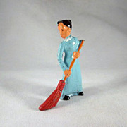 Manoil Lady with Broom Metal Figure