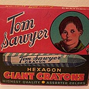 Box of Tom Sawyer Hexagon Giant Crayons 1942