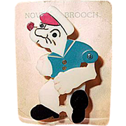 Hard Celluloid 'Popeye' Novelty Brooch on Original Card