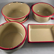 Child's Toy Graniteware Beige with Red Trim 5 Piece Cooking/Baking Set