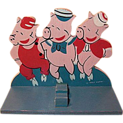 Walt Disney The Three Little Pigs wooden flatware holder 1930s