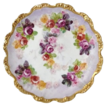 Antique Coiffe Limoges Cabinet Plate with Dainty Cabbage Roses