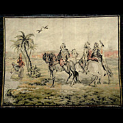 "Large Vintage French Tapestry Wall Hanging  50"" by 36"" Bedouins In Desert Oasis"