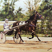 Horse Harness Racing Lithograph Cynthia Erkfitz Artist Signed & Certificate