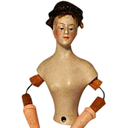 Half Doll Wood & Wire Arms Bisque