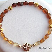 SALE 18K Gold Hessonite 14K Shell Bracelet