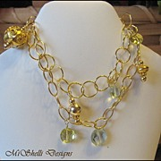 SALE Lemon Quartz Green Amethyst Vermeil Gold Filled Double Bracelet
