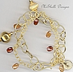 Hessonite Gemstones Double Strand Gold Filled Vermeil Bracelet