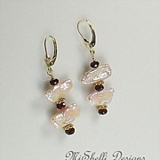 SALE 14K Gold Garnet and Pearl Stick Earrings