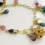 REDUCED Mystic Pink Quartz London Blue Topaz Gemstone Vermeil Gold Filled Charm Bracelet