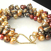 SALE Fall Pearl Cluster Vermeil Bracelet