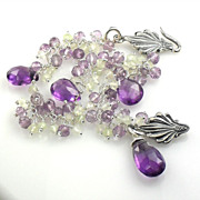 SALE Amethyst Prasiolite Gemstone Sterling Cluster Bracelet