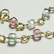 SALE Blue Topaz Pink Green Crystal Quartz Gold Filled Bracelet