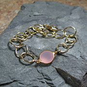 SALE Pink Chalcedony Gemstone Gold Filled Bracelet