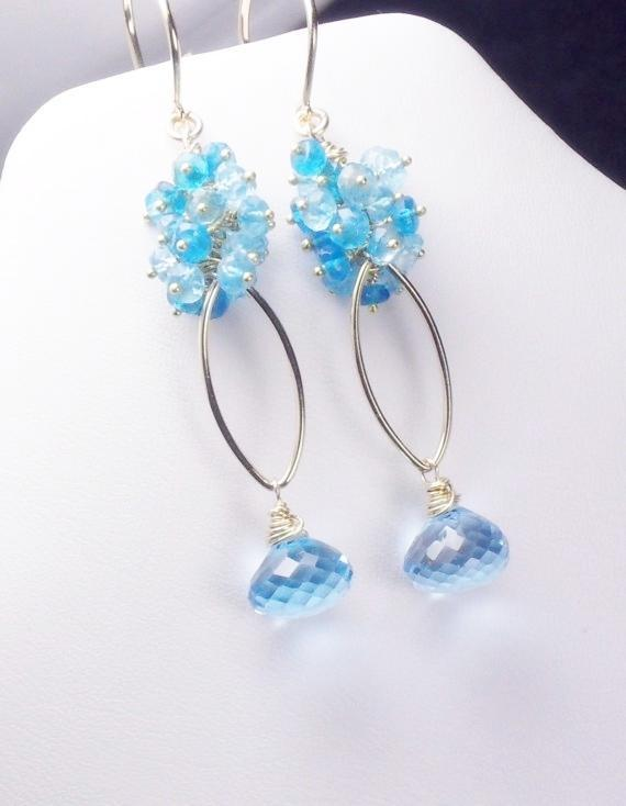 Luxe Topaz Apatite Gold Filled Vermeil Dangle Earrings