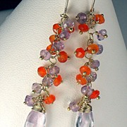 SALE Amethyst Carnelian Gemstone Vermeil Dangle Earrings