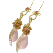 Pink Chalcedony Spinel Gemstone Gold Filled Tendril Elegant Earrings