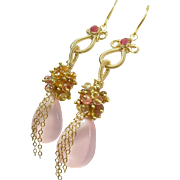 SALE Pink Chalcedony Spinel Gemstone Gold Filled Tendril Elegant Earrings