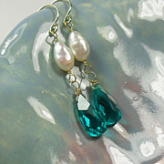SALE 14K Gold Teal Quartz Pearl Earrings