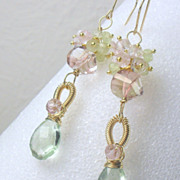 SALE Green Pink Quartz Amethyst Prehnite Gemstone Gold Filled Dangle Earrings