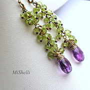 SALE Peridot and Amethyst Oxidized Sterling Silver Dangle Earrings