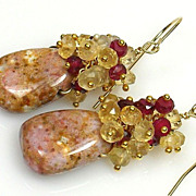 SALE Garnet and Lemon Quartz Gemstone Cluster Vermeil Earrings