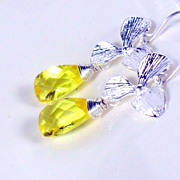 SALE Canary Yellow Quartz Orchid Sterling Dangle Earrings