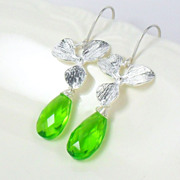 SALE Neon Green Quartz Orchid Sterling Dangle Earrings
