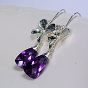 SALE Alexandrite Quartz Orchid Sterling Gemstone Earrings
