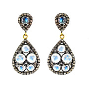 SALE Moonstone Pave Diamond Teardrop Post Earrings