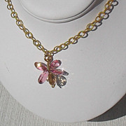REDUCED Pink and Champagne Topaz Gold Filled Vermeil Necklace