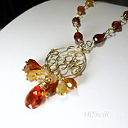SALE Hessonite Gemstone Wire Wrapped Gold Filled Pendant Necklace