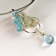 SALE Sky Blue Topaz Gemstone Sterling Necklace