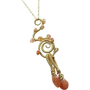 SALE Sunstone Sculptured Wire Wrapped Pendant Necklace