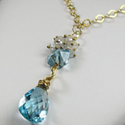 SALE Sky Blue Topaz Moonstone Gold Filled Necklace