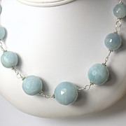 SALE Natural Aquamarine Gemstone Sterling Hand Linked Necklace