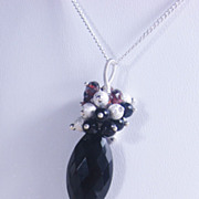 SALE Black Gemstone Pendant Necklace with Spinel Garnet Onyx and Stardust - Sterling