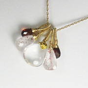 SALE Sale Lepidocrosite Quartz Garnet Gemstone 18K Gold Filled Necklace