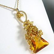 SALE SALE Madeira Quartz Citrine Tendrils Cluster Gold Necklace