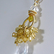 SALE Gemstone Cluster Pendant - Citrine Quartz Gold filled Necklace