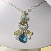 SALE Blue Quartz Citrine Moonstone Apatite Sculptured Pendant Necklace