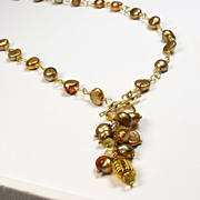 SALE Freshwater Pearl Gold Necklace