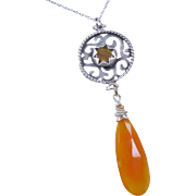 SALE Fanta Orange Chalcedony Fretworked Gemstone Pendant